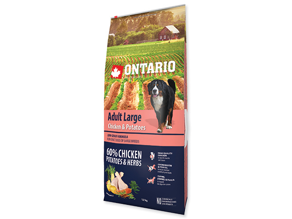 ONTARIO Adult Large Breed Chicken & Potatoes 12kg