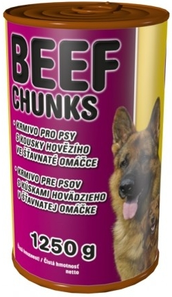 Delikan Konzerva Beef Chunks Dog 1250g