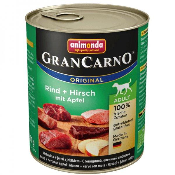 Gran Carno Adult konzerva hovězí + jelení maso s jablky 800g