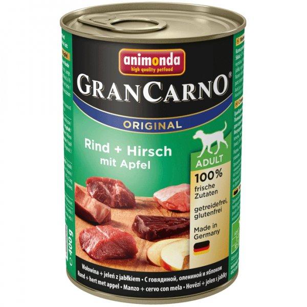 Gran Carno Adult konzerva hovězí + jelení maso s jablky 400g