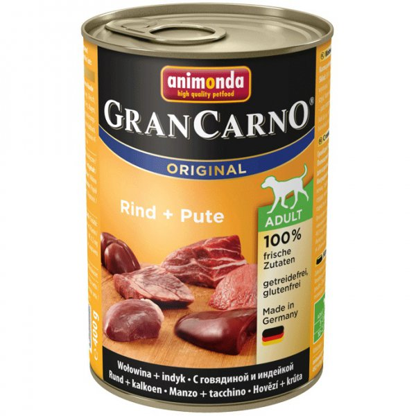 Gran Carno Adult konzerva hovězí + krocan 400g