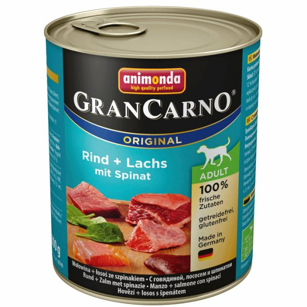 Gran Carno Adult konzerva hovězí, losos + špenát 800g