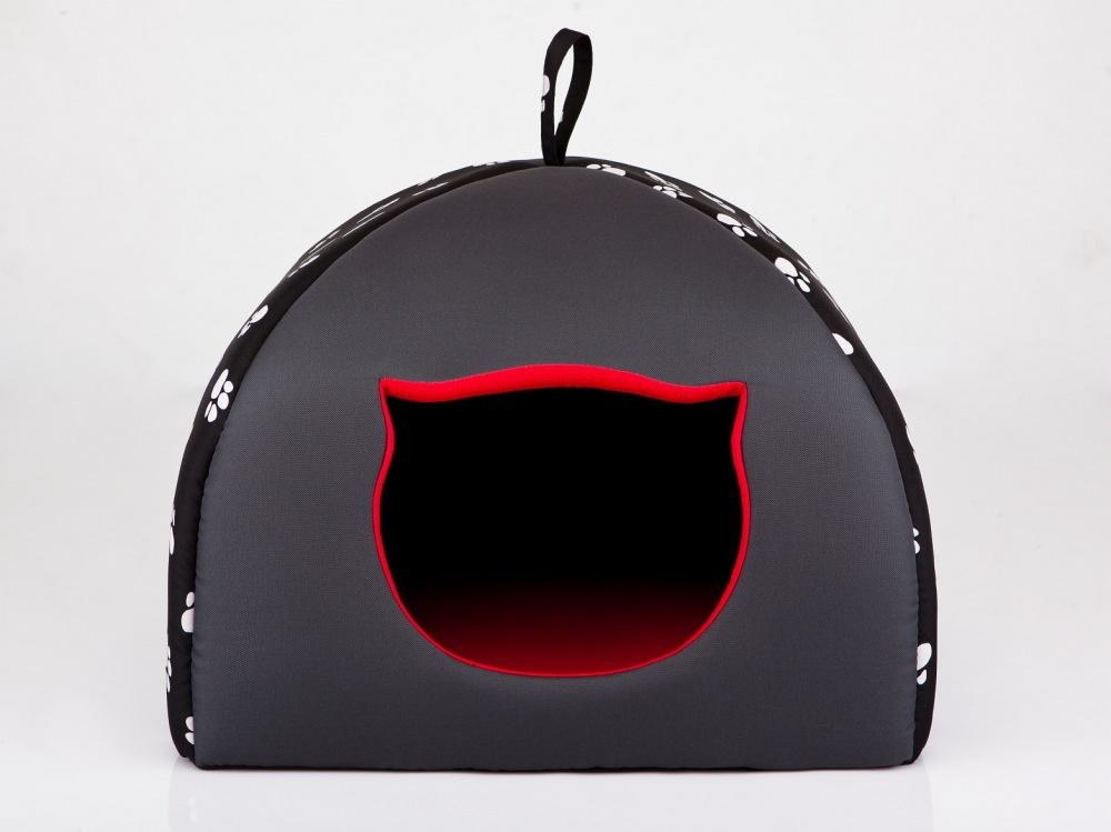 Iglú pro kočky černé tlapka R1