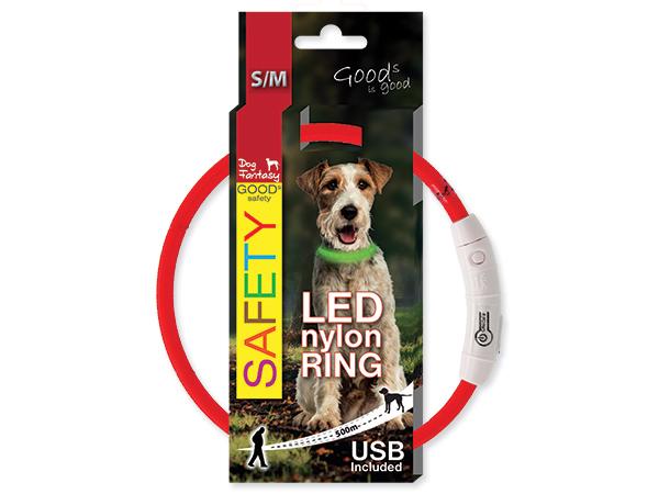 Obojek DOG FANTASY LED nylonový červený M/L