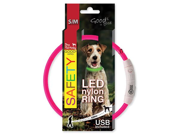 Obojek DOG FANTASY LED nylonový růžový M/L