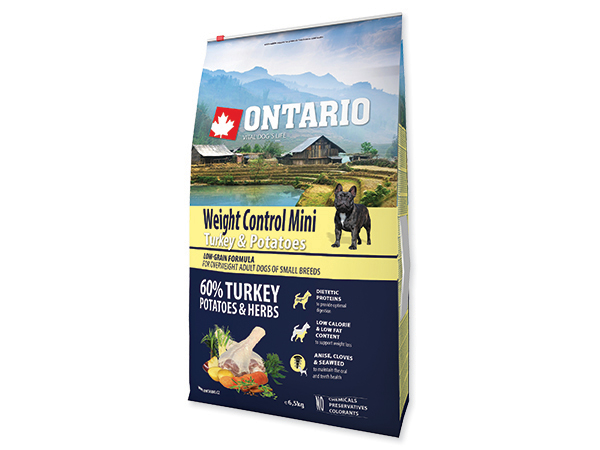 ONTARIO Adult Mini Weight Control Turkey&Potatoes 2x6,5kg
