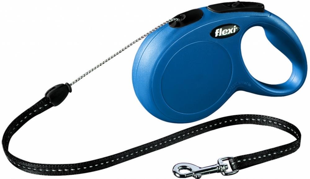 Vodítko Flexi Classic lanko M 8m/20kg modré
