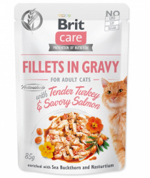 Brit Care Cat kapsička Fillets in Gravy with Tender Turkey & Savory Salmon